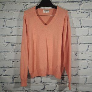 VTG 1980s Knit Sweater V-Neck Pullover, Salmon Coral, Made USA